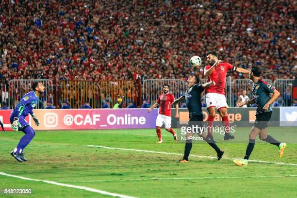 Ahly player Emad Miteb jumping during the CAF Champions League quarterfinal firstleg football match between Egypt's AlAhly and Tunisia's Esperance of...