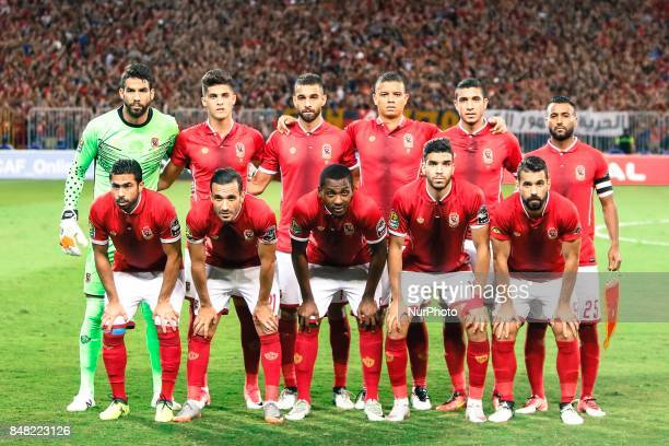 Ahly team before start the CAF Champions League quarterfinal firstleg football match between Egypt's AlAhly and Tunisia's Esperance of Tunis at Borg...