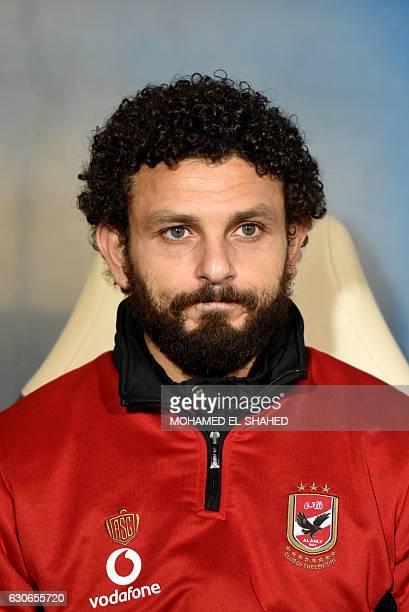 Ahly's Egyptian midfielder Hossam Ghaly looks on during the Egyptian Premier League football match between AlAhly and Zamalek at Petrosport Stadium...