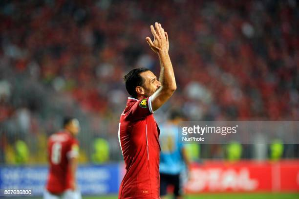 Ahly's left wing Ali Maaloul reacts after a chance during the CAF Champions League final football match between AlAhly vs Wydad Casablanca at the...