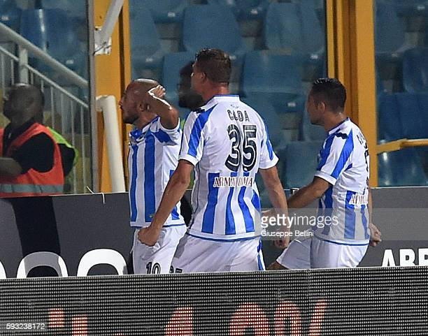 Ahmad Benali of Pescara Calcio celebrates after scoring the opening goal during the Serie A match between Pescara Calcio and SSC Napoli at Adriatico...