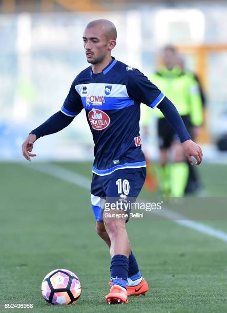 Ahmad Benali of Pescara Calcio in action during the Serie A match between Pescara Calcio and Udinese Calcio at Adriatico Stadium on March 12 2017 in...