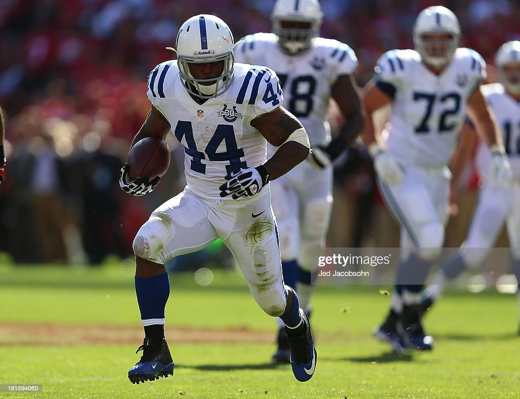 <a gi-track='captionPersonalityLinkClicked' href=/galleries/search?phrase=Ahmad+Bradshaw&family=editorial&specificpeople=2557220 ng-click='$event.stopPropagation()'>Ahmad Bradshaw</a> #44 of the Indianapolis Colts runs against the San Francisco 49ers at Candlestick Park on September 22, 2013 in San Francisco, California.