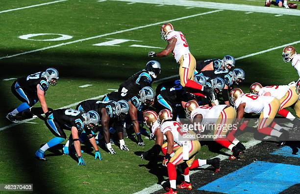 Ahmad Brooks of the San Francisco 49ers jumps offsides during the NFC Divisional Playoff Game against the Carolina Panthers at Bank of America...
