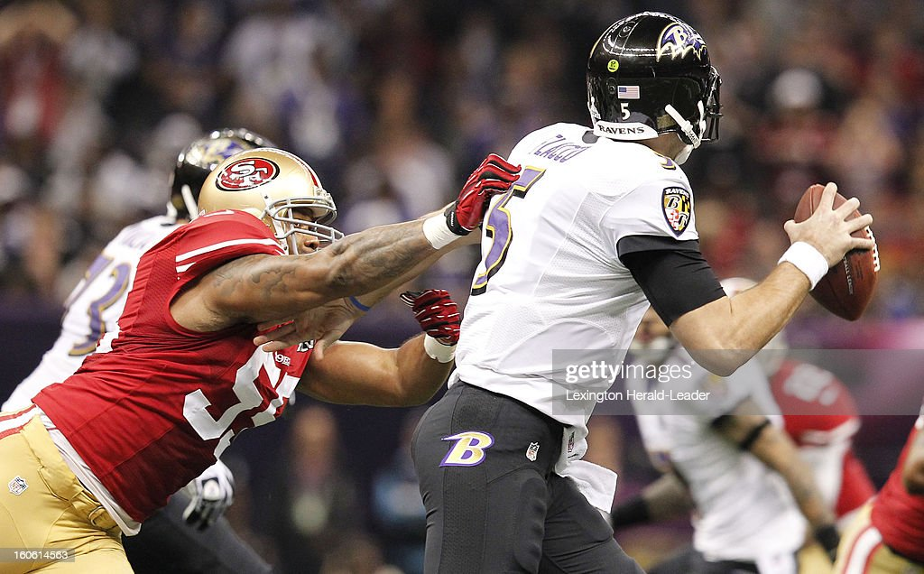 Ahmad Brooks (55) of the San Francisco 49ers pressures Joe Flacco (5) of the Baltimore Ravens in first-quarter action in Super Bowl XLVII at the Mercedes-Benz Superdome in New Orleans, Louisiana, Sunday, February 3, 2013.
