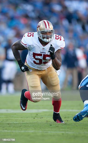 Ahmad Brooks of the San Francisco 49ers rushes the passer during the game against the Tennessee Titans at LP Field on October 20 2013 in Nashville...