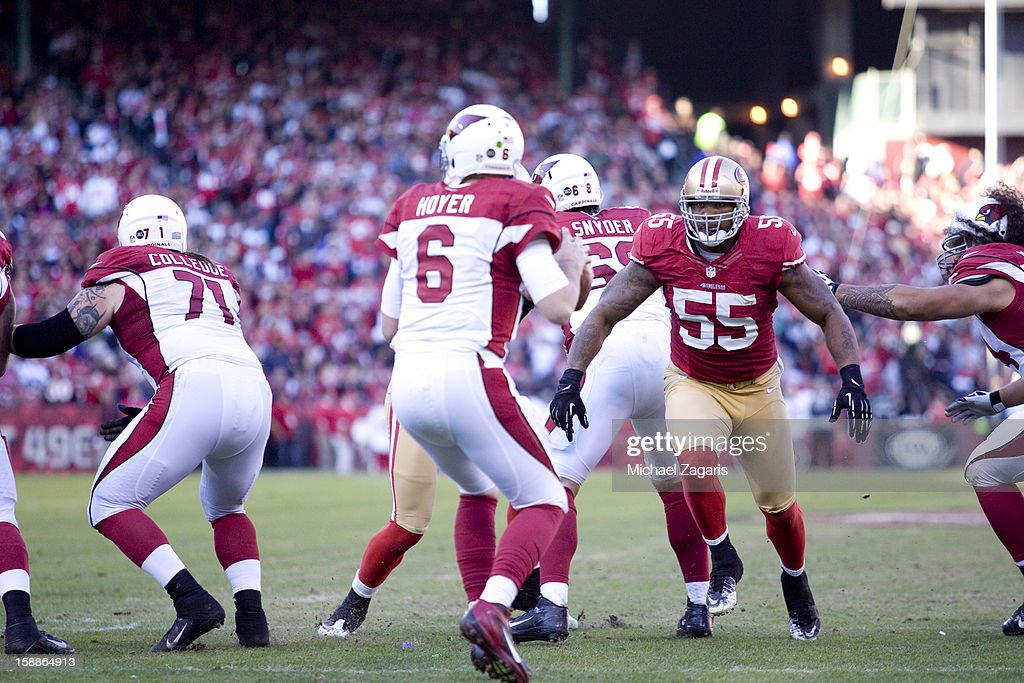 Ahmad Brooks #55 of the San Francisco 49ers sacks Brian Hoyer #6 of the Arizona Cardinals during the game at Candlestick Park on December 30, 2012 in San Francisco, California. The 49ers defeated the Cardinals 27-13.