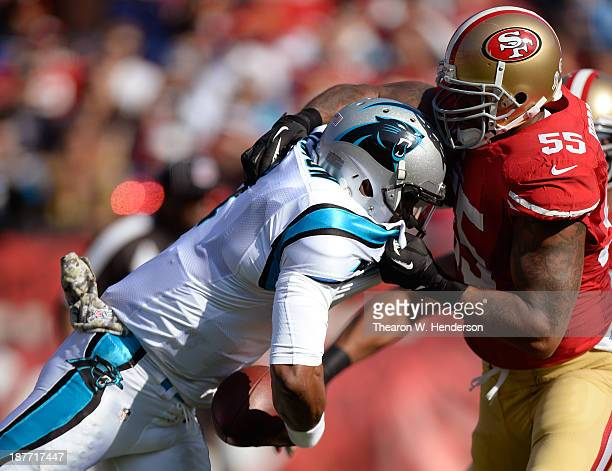 Ahmad Brooks of the San Francisco 49ers sacks quarterback Cam Newton of the Carolina Panthers during the first quarter at Candlestick Park on...