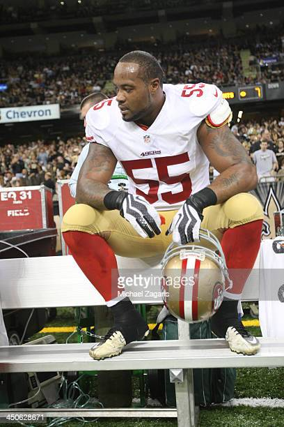 Ahmad Brooks of the San Francisco 49ers sits on the bench during the game against the New Orleans Saints at the Superdome on November 17 2013 in New...