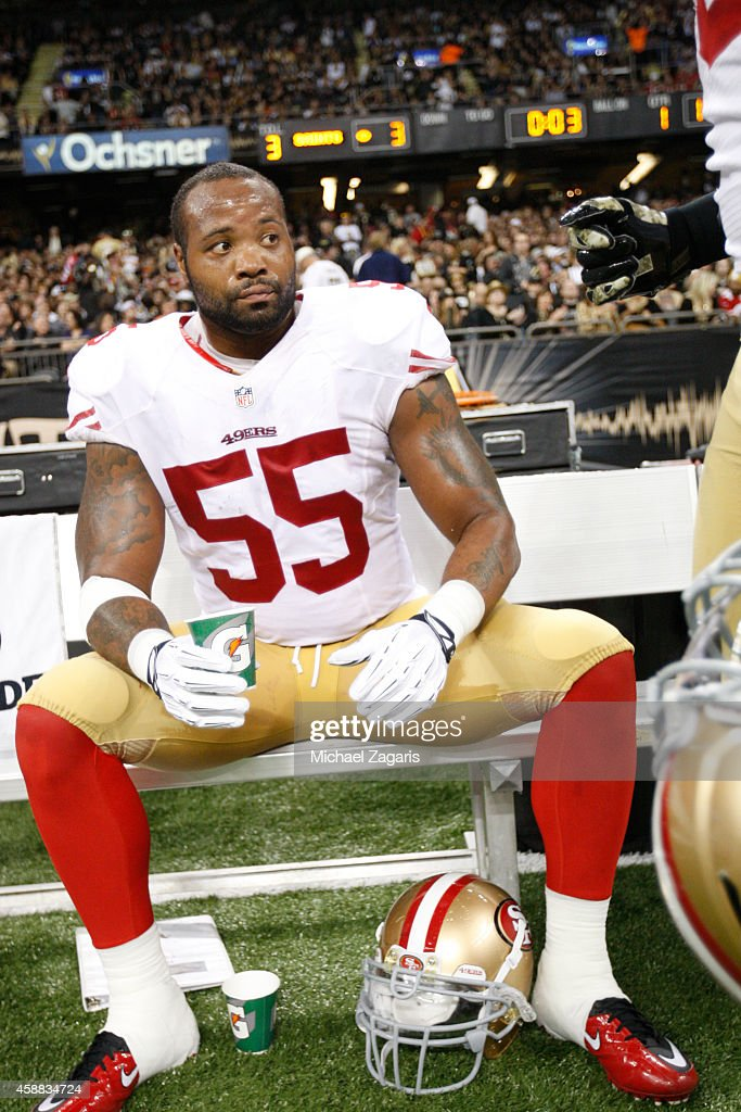 <a gi-track='captionPersonalityLinkClicked' href=/galleries/search?phrase=Ahmad+Brooks&family=editorial&specificpeople=2326499 ng-click='$event.stopPropagation()'>Ahmad Brooks</a> #55 of the San Francisco 49ers sits on the bench during the game against the New Orleans Saints at the Mercedes-Benz Superdome on November 9, 2014 in New Orleans, Louisiana. The 49ers defeated the Saints 27-24.