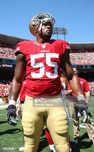 Ahmad Brooks of the San Francisco 49ers stands on the field prior to the game against the Green Bay Packers at Candlestick Park on September 8 2013...