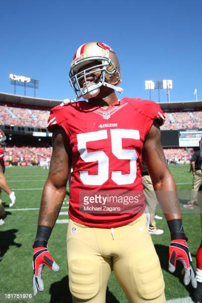 Ahmad Brooks of the San Francisco 49ers stands on the field prior to the game against the Indianapolis Colts at Candlestick Park on September 22 2013...