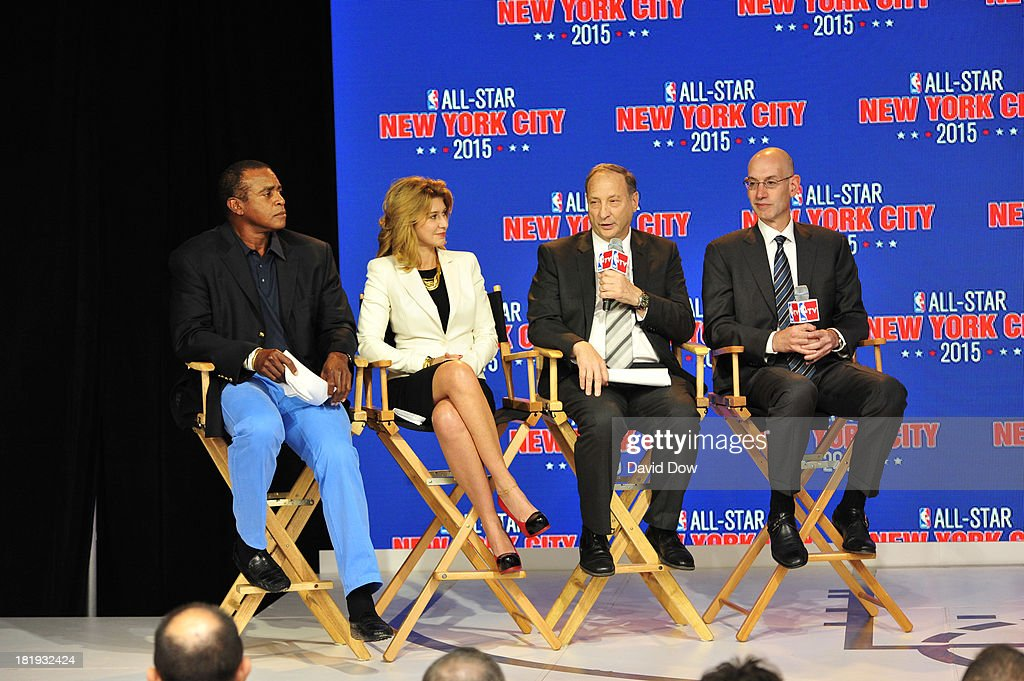 Ahmad Rashad, Irina Pavlova, President, ONEXIM Sports and Entertainment Holding USA, Bruce Ratner, Owner and developer of Barclays Center, NBA Deputy Commissioner Adam Silver at a press conference announcing that New York City will be the host of the 2015 NBA All-Star game on September 25, 2013 at the Industria Superstudio in New York City.