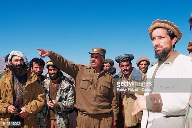 Ahmad Shah Massoud and General Ruzy on the frontlines to the north of Kabul The city was seized by the Taliban on October 27 1996 | Location North of...