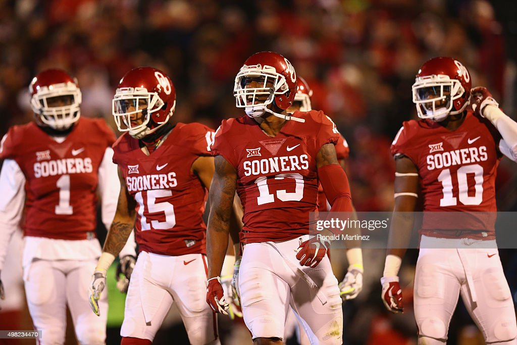 Ahmad Thomas #13 of the Oklahoma Sooners celebrates his interception against the TCU Horned Frogs in the third quarter at Gaylord Family Oklahoma Memorial Stadium on November 21, 2015 in Norman, Oklahoma.
