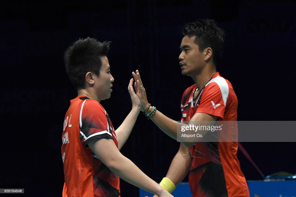 Ahmad Tontowi and <a gi-track='captionPersonalityLinkClicked' href=/galleries/search?phrase=Liliyana&family=editorial&specificpeople=4055313 ng-click='$event.stopPropagation()'>Liliyana</a> Natsir of Indonesia reacts during their match against Chan Peng Soon and Goh Liu Ying of Malaysia during the Mix Doubles Final during the BWF World Super Series Badminton Malaysia Open at Stadium Malawati on April 10, 2016 in Shah Alam, Malaysia.