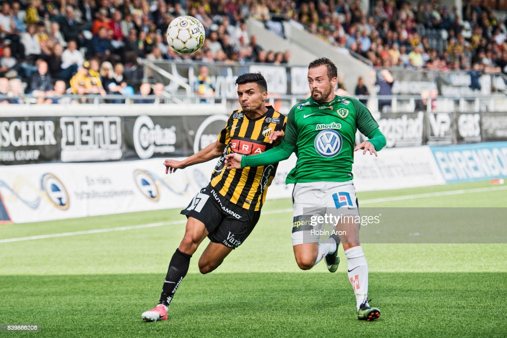 Ahmad Yasin of BK Hacken and Fredric Fendrich of Jonkopings Sodra competes for the ball during the Allsvenskan match between BK Hacken and Jonkopings Sodra IF at Bravida Arena on August 27, 2017 in Gothenburg, Sweden.
