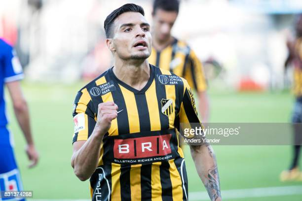 Ahmad Yasin of BK Hacken celebrates after scoring 10 during the Allsvenskan match between BK Hacken and GIF Sundsvall at Bravida Arena on August 14...