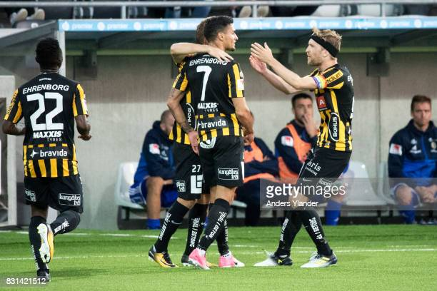 Ahmad Yasin of BK Hacken celebrates after scoring 20 during the Allsvenskan match between BK Hacken and GIF Sundsvall at Bravida Arena on August 14...