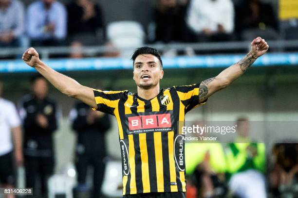 Ahmad Yasin of BK Hacken celebrates his team's victory in the Allsvenskan match between BK Hacken and GIF Sundsvall at Bravida Arena on August 14...