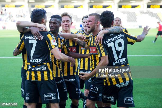 Ahmad Yasin of BK Hacken celebrates with teammates after scoring during the Allsvenskan match between BK Hacken and GIF Sundsvall at Bravida Arena on...