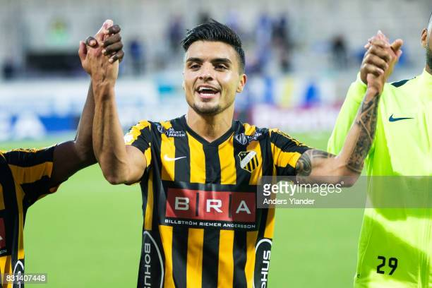 Ahmad Yasin of BK Hacken cheers to the fans after his team´s victory in the Allsvenskan match between BK Hacken and GIF Sundsvall at Bravida Arena on...