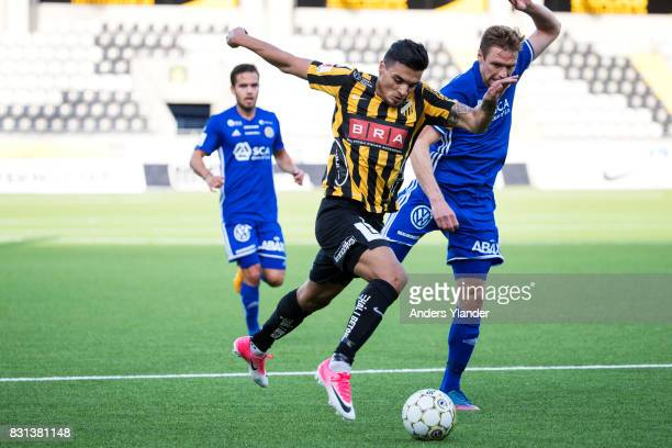 Ahmad Yasin of BK Hacken competes for the ball with David Myrestam of GIF Sundsvall during the Allsvenskan match between BK Hacken and GIF Sundsvall...