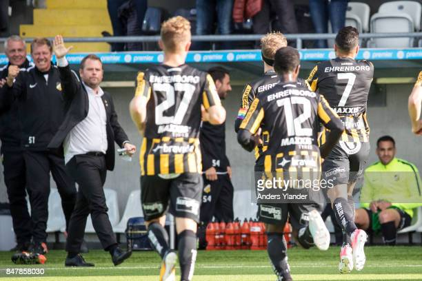 Ahmad Yasin of BK Hacken scores the opening goal and celebrates with Mikael Stahre head coach of BK Hacken during the Allsvenskan match between BK...