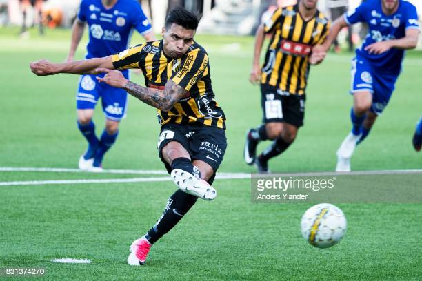 Ahmad Yasin of BK Hacken scores the opening goal on a penalty during the Allsvenskan match between BK Hacken and GIF Sundsvall at Bravida Arena on...