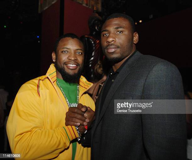 Ahman Green and Brandon Jacobs during Ahman Green Golf Shootout Cocktail Party at Tao at Tao Nightclub at The Venetian Hotel and Casino Resort in Las...