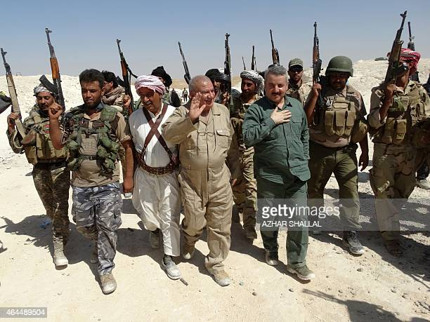 Ahmed alDulaimi the governor of Iraq's Anbar province Iraqi security forces and Sunni tribesmen arrive to visit a military post before it was...