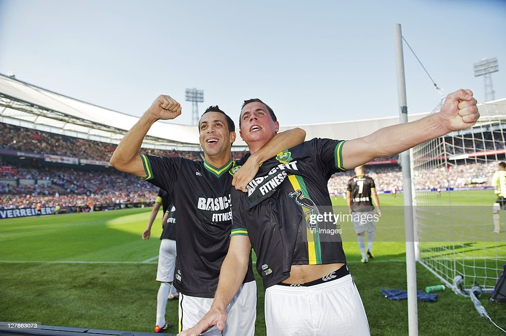 Ahmed Ammi and Wesley Verhoek of ADO Den Haag during the Eredivisie match between Feyenoord and ADO Den Haag at the Gelredome stadium on October 2...