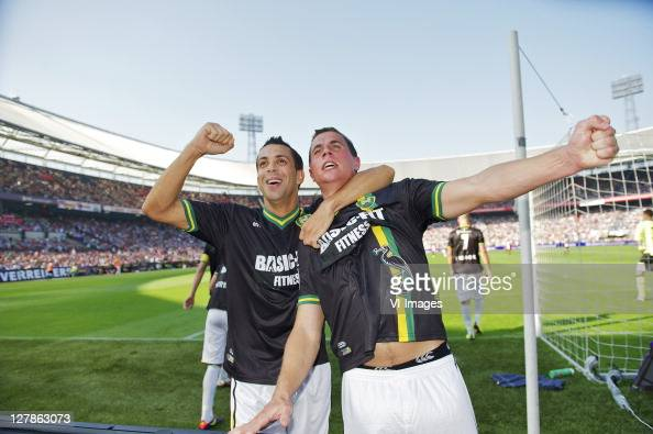 Ahmed Ammi and Wesley Verhoek of ADO Den Haag during the Eredivisie match between Feyenoord and ADO Den Haag at the Gelredome stadium on October 2...