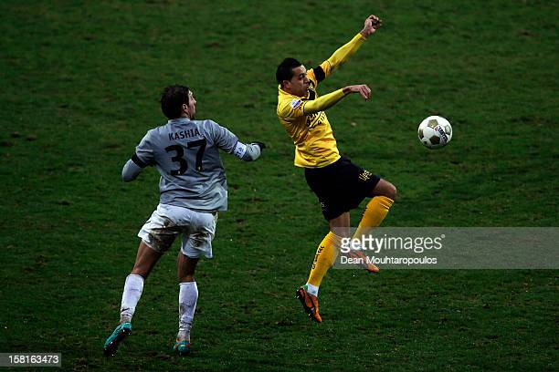 Ahmed Ammi of Venlo and Guram Kashia of Vitesse battle for the ball during the Eredivisie match between VVV Venlo and Vitesse Arnhem at the Seacon...