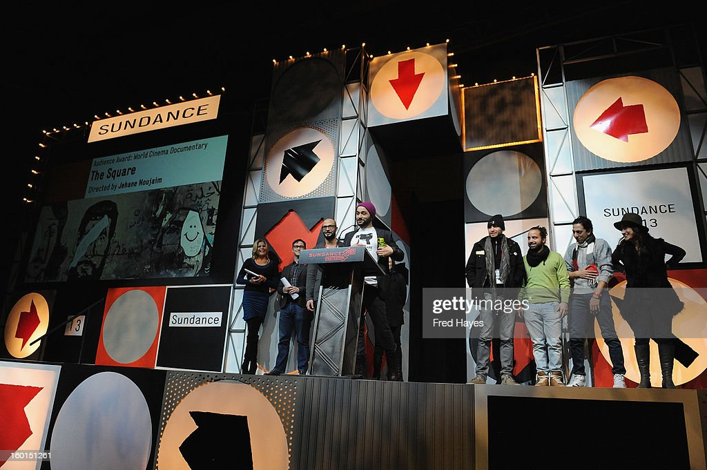 Ahmed Barbary speaks onstage after accepting the Winner of the Audience Award: World Cinema Documentary for The Square the Awards Night Ceremony during the 2013 Sundance Film Festival at Basin Recreation Field House on January 26, 2013 in Park City, Utah.
