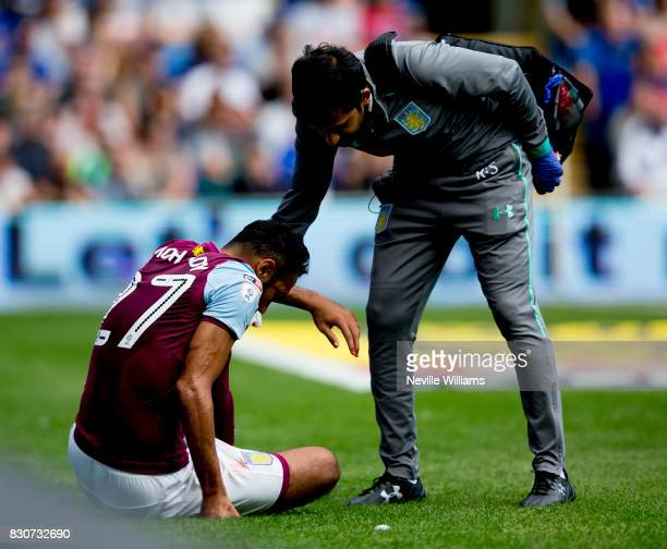 Ahmed Elmohamady of Aston Villa during the Sky Bet Championship match between Cardiff City and Aston Villa at the Cardiff City Stadium on August 12...