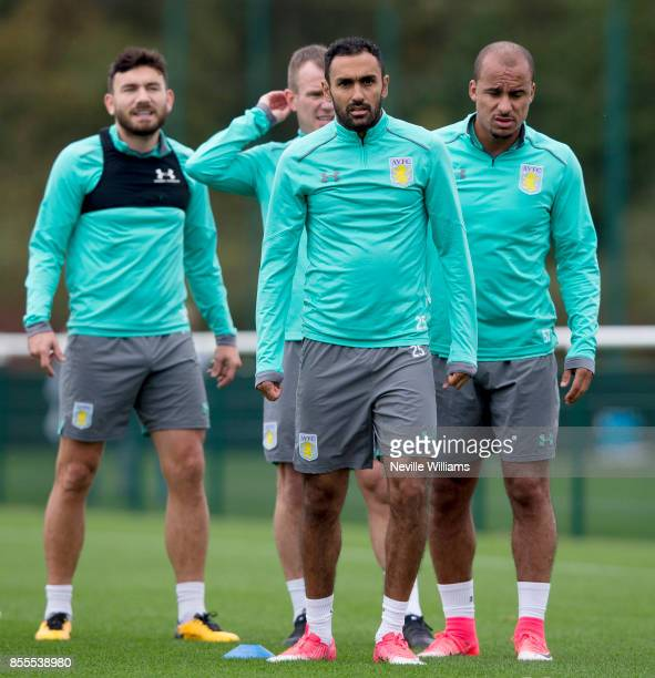 Ahmed Elmohamady of Aston Villa in action during a Aston Villa training session at the club's training ground at Bodymoor Heath on September 29 2017...