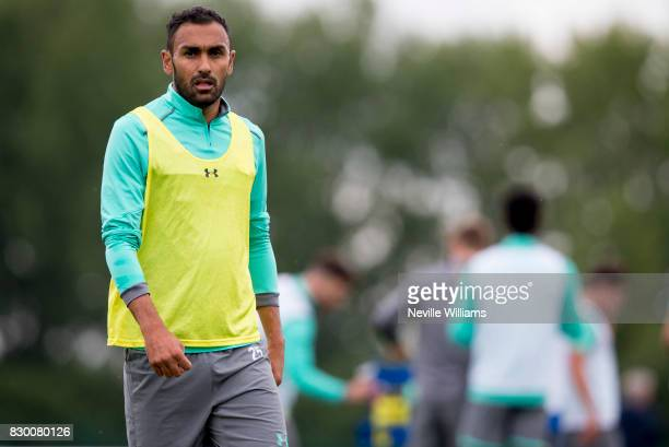 Ahmed Elmohamady of Aston Villa in action during a training session at the club's training ground at Bodymoor Heath on August 11 2017 in Birmingham...