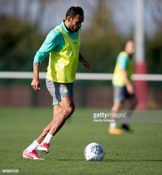 Ahmed Elmohamady of Aston Villa in action during a training session at the club's training ground at Bodymoor Heath on October 20 2017 in Birmingham...