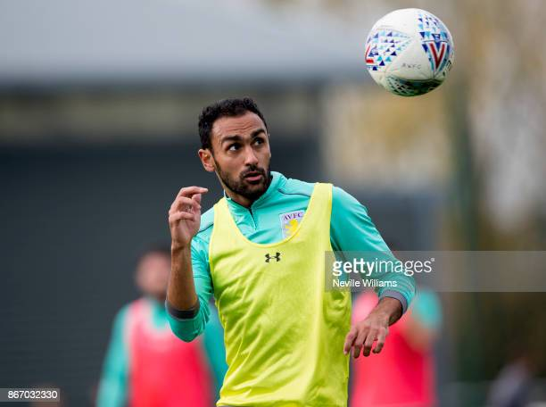 Ahmed Elmohamady of Aston Villa in action during a training session at the club's training ground at Bodymoor Heath on October 26 2017 in Birmingham...