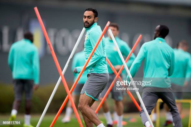 Ahmed Elmohamady of Aston Villa in action during a training session at the club's training ground at Bodymoor Heath on November 03 2017 in Birmingham...