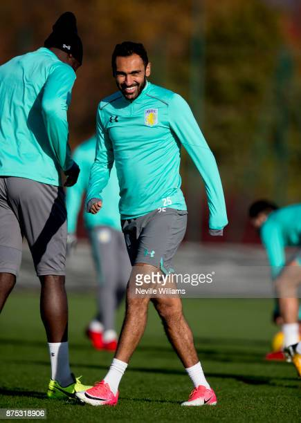Ahmed Elmohamady of Aston Villa in action during a training session at the club's training ground at Bodymoor Heath on November 17 2017 in Birmingham...