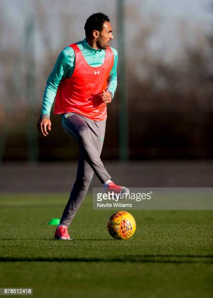 Ahmed Elmohamady of Aston Villa in action during a training session at the club's training ground at Bodymoor Heath on November 24 2017 in Birmingham...