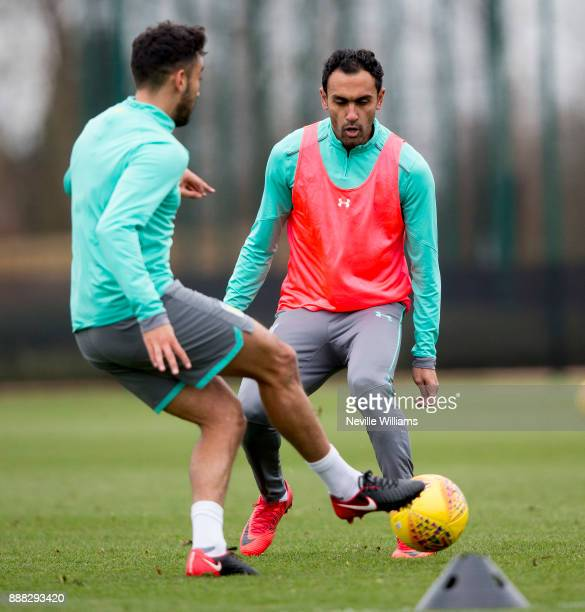 Ahmed Elmohamady of Aston Villa in action during a training session at the club's training ground at Bodymoor Heath on December 08 2017 in Birmingham...