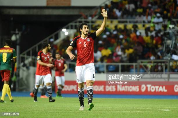 Ahmed Elsayed Ali Elsayed Hegazi celebrates during the African Nations Cup Final match between Cameroon and Egypt at Stade de L'Amitie on February 5...