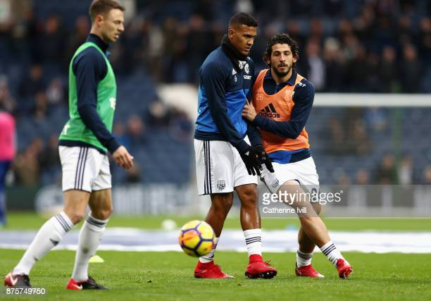 Ahmed ElSayed Hegazi and Jose Salomon Rondon of West Bromwich Albion warm up prior to the Premier League match between West Bromwich Albion and...