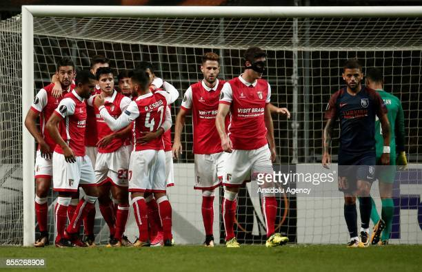 Ahmed Hassan of Sporting Braga celebrates his goal with his team mates during the UEFA Europa League Group C match between Sporting Braga and Medipol...