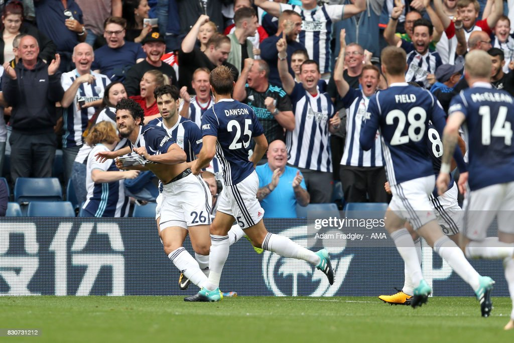 Ahmed Hegazi of West Bromwich Albion celebrates after scoring a goal to make it 1-0 during the Premier League match between West Bromwich Albion and AFC Bournemouth at The Hawthorns on August 12, 2017 in West Bromwich, England.