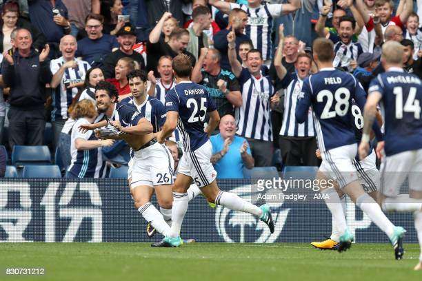 Ahmed Hegazi of West Bromwich Albion celebrates after scoring a goal to make it 10 during the Premier League match between West Bromwich Albion and...