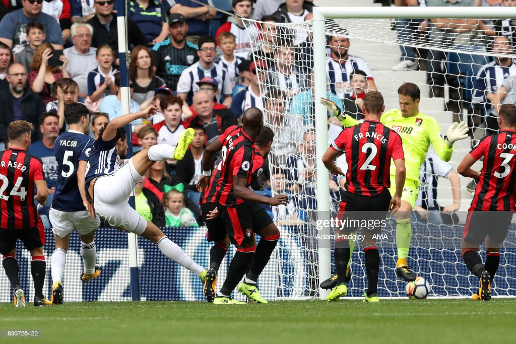 Ahmed Hegazi of West Bromwich Albion scores a goal to make it 1-0 during the Premier League match between West Bromwich Albion and AFC Bournemouth at The Hawthorns on August 12, 2017 in West Bromwich, England.